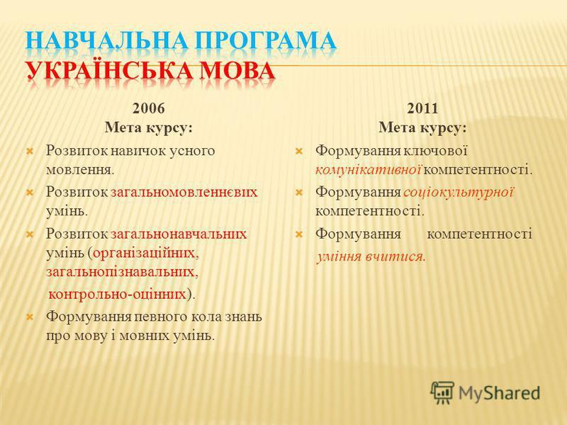 2006 Мета курсу: Розвиток навичок усного мовлення. Розвиток загальномовленнєвих умінь. Розвиток загальнонавчальних умінь (організаційних, загальнопізнавальних, контрольно-оцінних). Формування певного кола знань про мову і мовних умінь. 2011 Мета курс