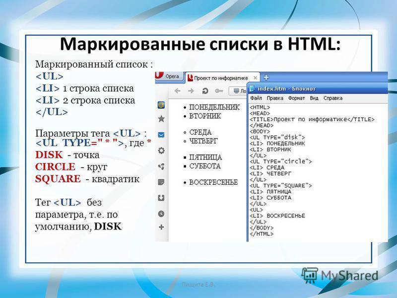 Маркированные списки в HTML: Маркированный список : 1 строка списка 2 строка списка Параметры тега :, где * DISK - точка CIRCLE - круг SQUARE - квадратик Тег без параметра, т.е. по умолчанию, DISK Пищита Е.В.