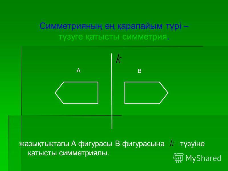 Симметрияның ең қарапайым түрі – түзуге қатысты симметрия. А В жазықтықтағы А фигурасы В фигурасына түзуіне қатысты симметриялы.