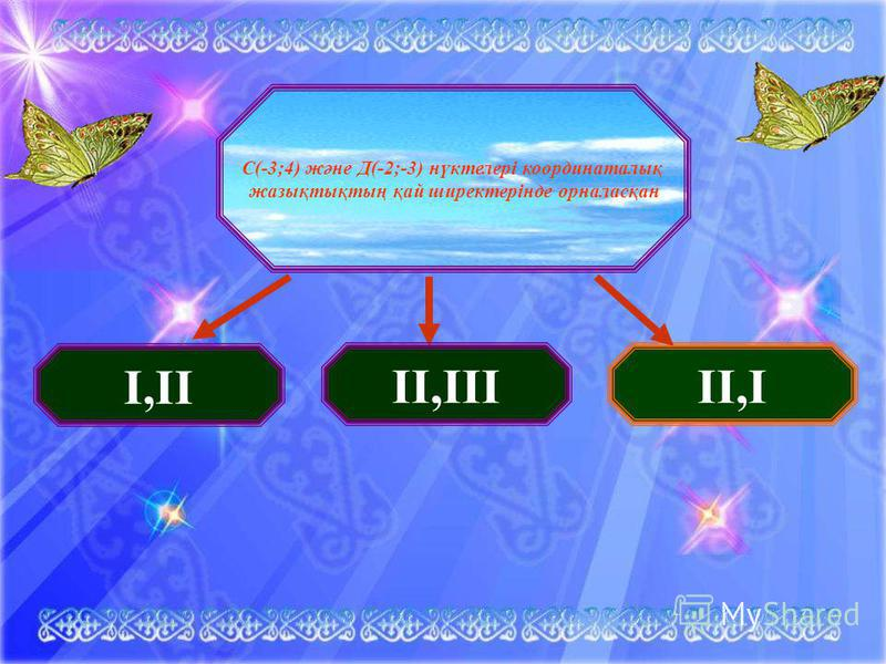 С(-3;4) және Д(-2;-3) нүктелері координаталық жазықтықтың қай ширектерінде орналасқан I,II II,IIIII,I