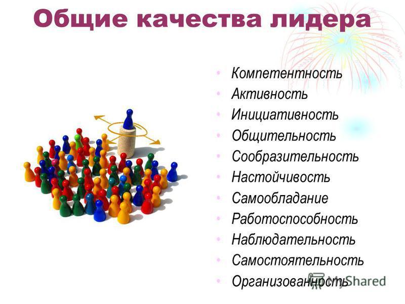 Общие качества лидера Компетентность Активность Инициативность Общительность Сообразительность Настойчивость Самообладание Работоспособность Наблюдательность Самостоятельность Организованность