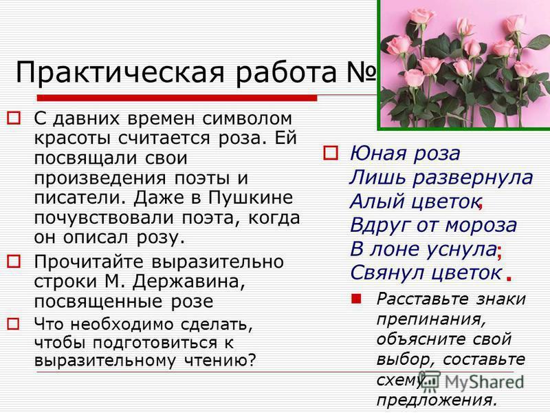 Практическая работа 111. С давних времен символом красоты считается роза. Ей посвящали свои произведения поэты и писатели. Даже в Пушкине почувствовали поэта, когда он описал розу. Прочитайте выразительно строки М. Державина, посвященные розе Что нео
