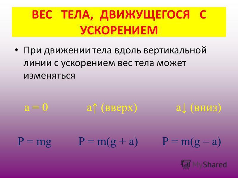 При движении тела вдоль вертикальной линии с ускорением вес тела может изменяться а = 0 а (вверх) а (вниз) P = mg P = m(g + a) P = m(g – a) ВЕС ТЕЛА, ДВИЖУЩЕГОСЯ С УСКОРЕНИЕМ