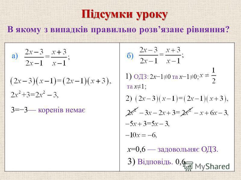 В якому з випадкiв правильно розвязане рiвняння? Пiдсумки уроку а) 3=3 коренiв немає б) 1) ОДЗ: 2x10 та x10; та x1; x=0,6 задовольняє ОДЗ. 3) Вiдповiдь. 0,6