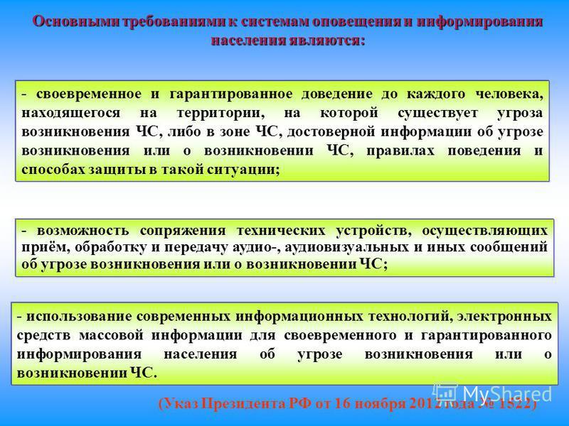 (Указ Президента РФ от 16 ноября 2012 года 1522) Основными требованиями к системам оповещения и информирования населения являются: - своевременное и гарантированное доведение до каждого человека, находящегося на территории, на которой существует угро