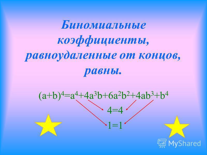 Сумма показателей а и в в каждом слагаемом равна n (a+b) 2 =a 2 +2ab+b 2 2+0=2 1+1=2 0+2=2