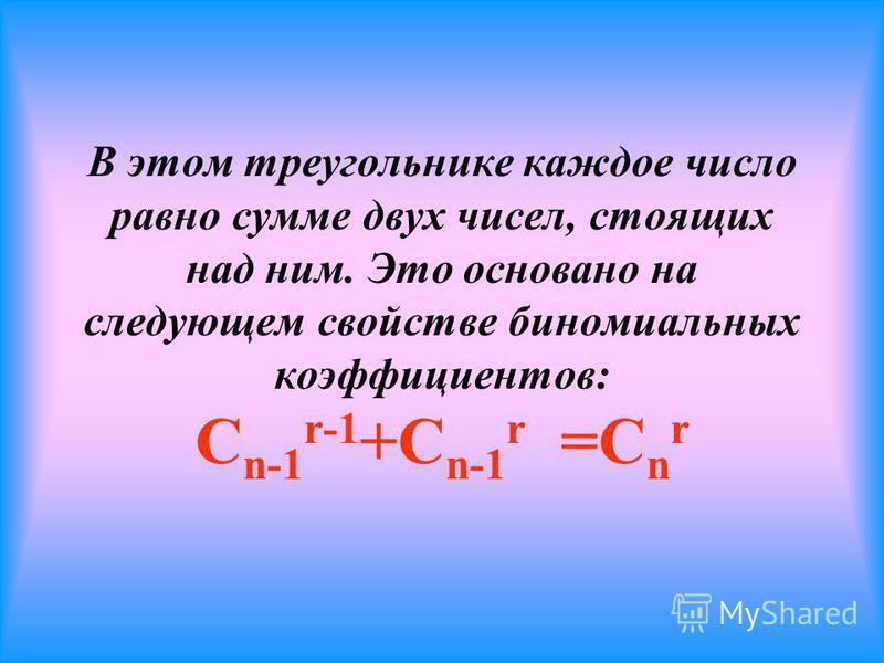 Существует простой способ нахождения биномиальных коэффициентов: они отражены в арифметическом треугольнике, который ещё называют треугольником Паскаля 1 1 1 1 2 1 1 3 3 1 1 4 6 4 1 1 5 10 10 5 1