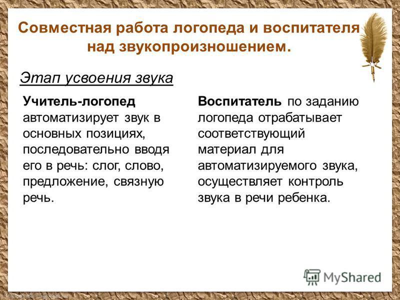 FokinaLida.75@mail.ru Совместная работа логопеда и воспитателя над звукопроизношением. Этап усвоения звука Учитель-логопед автоматизирует звук в основных позициях, последовательно вводя его в речь: слог, слово, предложение, связную речь. Воспитатель