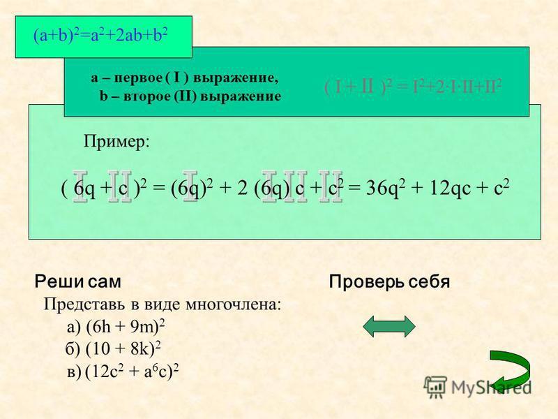(a+b) 2 =a 2 +2ab+b 2 a – первое ( I ) выражение, b – второе (II) выражение ( I + II ) 2 = I 2 +2·I·II+II 2 Пример: ( 6q + c ) 2 = (6q) 2 + 2 (6q) c + c 2 = 36q 2 + 12qc + c 2 Реши сам Представь в виде многочлена: а) (6h + 9m) 2 б) (10 + 8k) 2 в) (12