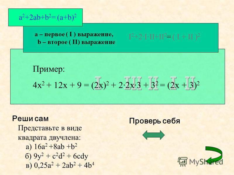 a 2 +2ab+b 2 = (a+b) 2 a – первое ( I ) выражение, b – второе ( II) выражение I 2 +2·I·II+II 2 = ( I + II ) 2 Пример: 4x 2 + 12x + 9 = (2x) 2 + 2·2x·3 + 3 2 = (2x + 3) 2 Реши сам Представьте в виде квадрата двучлена: а) 16a 2 +8ab +b 2 б) 9y 2 + c 2