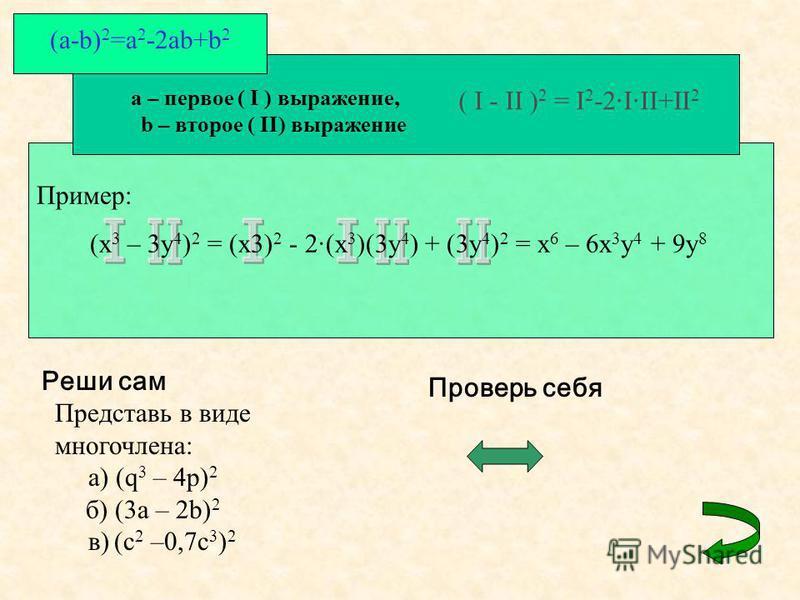 a – первое ( I ) выражение, b – второе ( II) выражение ( I - II ) 2 = I 2 -2·I·II+II 2 (a-b) 2 =a 2 -2ab+b 2 Пример: (x 3 – 3y 4 ) 2 = (x3) 2 - 2·(x 3 )(3y 4 ) + (3y 4 ) 2 = x 6 – 6x 3 y 4 + 9y 8 Реши сам Представь в виде многочлена: а) (q 3 – 4p) 2