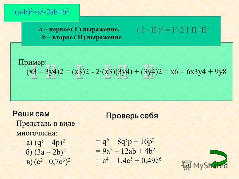 a – первое ( I ) выражение, b – второе ( II) выражение ( I - II ) 2 = I 2 -2·I·II+II 2 (a-b) 2 =a 2 -2ab+b 2 Реши сам Представь в виде многочлена: а) (q 3 – 4p) 2 б) (3a – 2b) 2 в) (c 2 –0,7c 3 ) 2 Проверь себя = q 6 – 8q 3 p + 16p 2 = 9a 2 – 12ab +