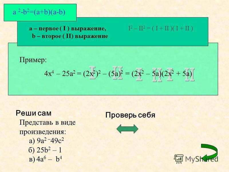 a – первое ( I ) выражение, b – второе ( II) выражение I 2 – II 2 = ( I + II )( I + II ) a 2 -b 2 =(a+b)(a-b) Пример: 4x 4 – 25a 2 = (2x 2 ) 2 – (5a) 2 = (2x 2 – 5a)(2x 2 + 5a) Реши сам Представь в виде произведения: а) 9a 2 – 49 с 2 б) 25b 2 – 1 в)