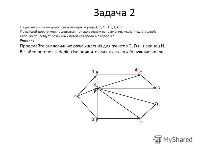 Задача 2 На рисунке – схема дорог, связывающих города A, B, C, D, E, F, G H. По каждой дороге можно двигаться только в одном направлении, указанном стрелкой. Сколько существует различных путей из города A в город H? Решение 1 1 3 4 Проделайте аналоги