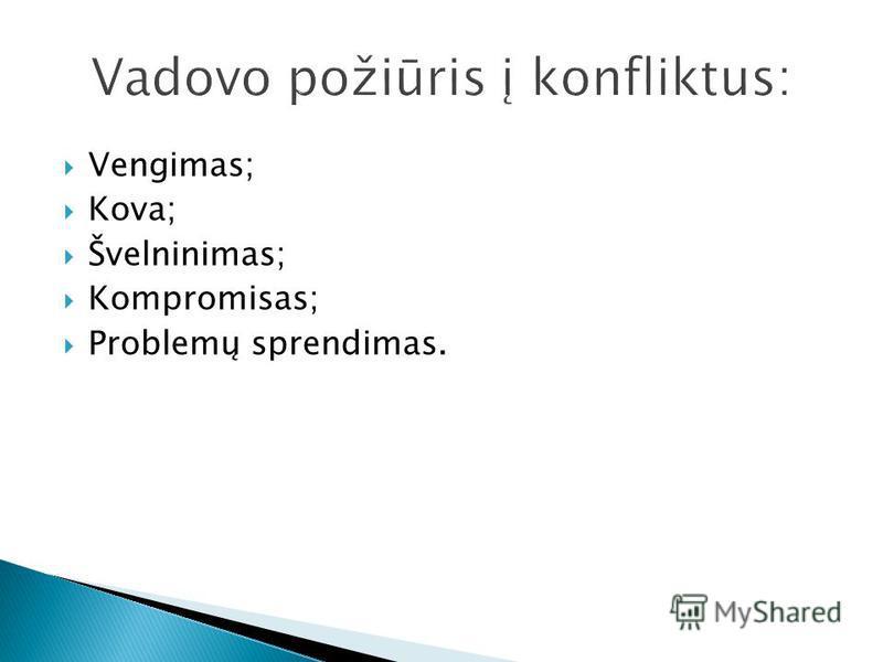 Vengimas; Kova; Švelninimas; Kompromisas; Problemų sprendimas.