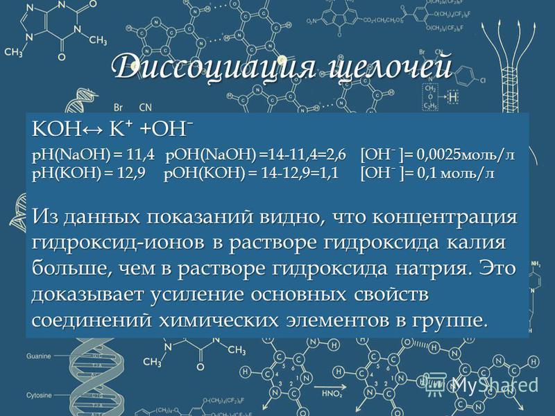 Диссоциация щелочей КОН КОН К К +ОНˉ pH(NaOH) pH(NaOH) = 11,4 11,4 pOH(NaOH) pOH(NaOH) =14-11,4=2,6 [ОНˉ ]= 0,0025 моль/л рН(КОН) = 12,9 12,9 рОН(КОН) = 14-12,9=1,1 [ОНˉ ]= 0,1 моль/л Из данных показаний видно, что концентрация гидроксид-ионов в раст