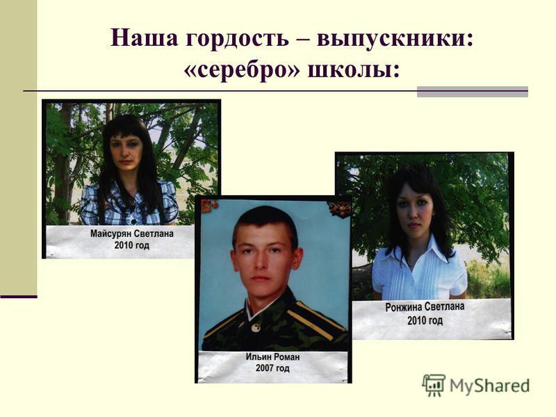 Наша гордость – выпускники: «серебро» школы: