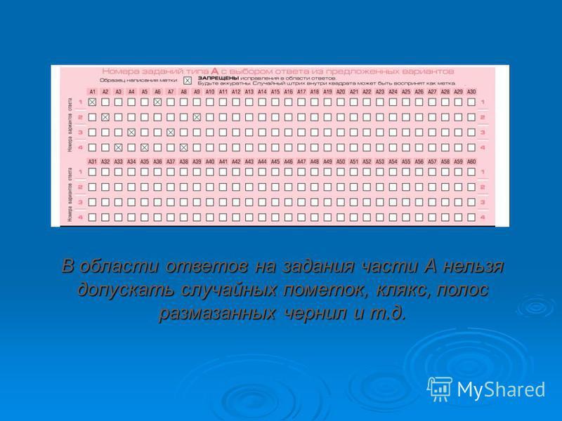 В области ответов на задания части А нельзя допускать случайных пометок, клякс, полос размазанных чернил и т.д.