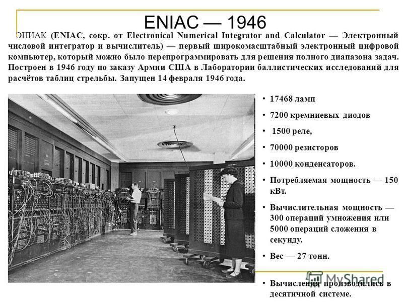 ENIAC 1946 ЭНИАК (ENIAC, сокр. от Electronical Numerical Integrator and Calculator Электронный числовой интегратор и вычислитель) первый широкомасштабный электронный цифровой компьютер, который можно было перепрограммировать для решения полного диапа