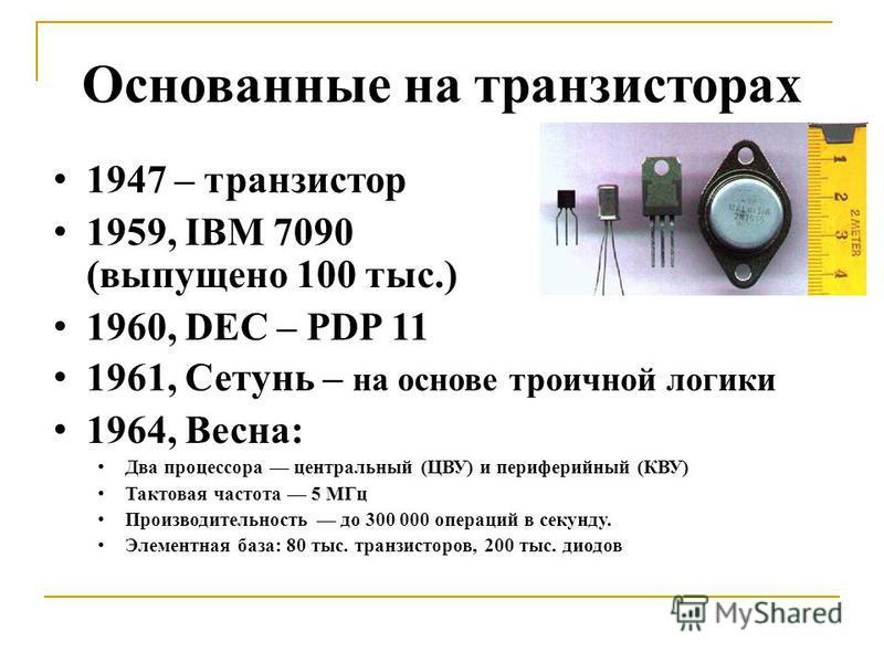 Основанные на транзисторах 1947 – транзистор 1959, IBM 7090 (выпущено 100 тыс.) 1960, DEC – PDP 11 1961, Сетунь – на основе троичной логики 1964, Весна: Два процессора центральный (ЦВУ) и периферийный (КВУ) Тактовая частота 5 МГц Производительность д