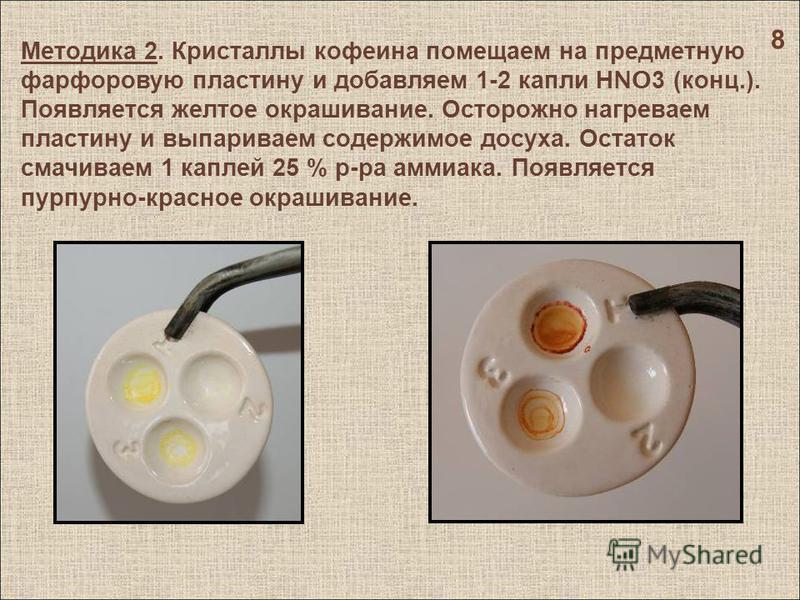 Методика 2. Кристаллы кофеина помещаем на предметную фарфоровую пластину и добавляем 1-2 капли Н NO3 ( конц.). Появляется желтое окрашивание. Осторожно нагреваем пластину и выпариваем содержимое досуха. Остаток смачиваем 1 каплей 25 % р - ра аммиака.