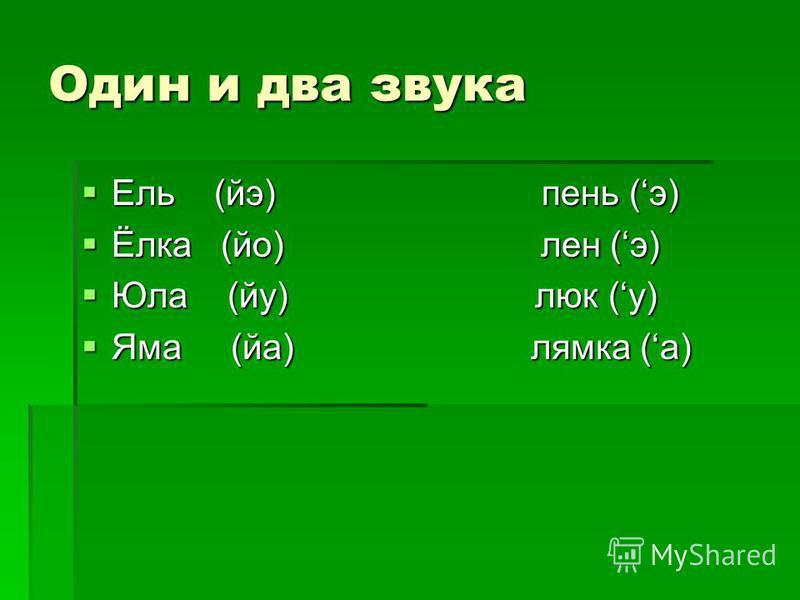 Один и два звука Ель (эй) пень (э) Ель (эй) пень (э) Ёлка (йо) лен (э) Ёлка (йо) лен (э) Юла (йу) люк (у) Юла (йу) люк (у) Яма (на) лямка (а) Яма (на) лямка (а)
