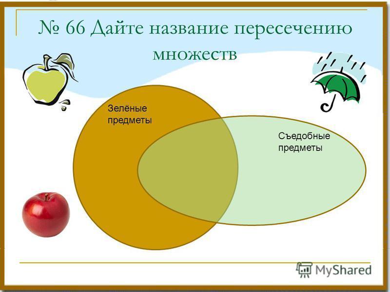 66 Дайте название пересечению множеств Зелёные предметы Съедобные предметы