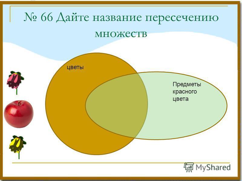 цветы Предметы красного цвета 66 Дайте название пересечению множеств