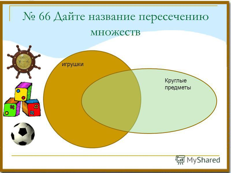 игрушки Круглые предметы 66 Дайте название пересечению множеств