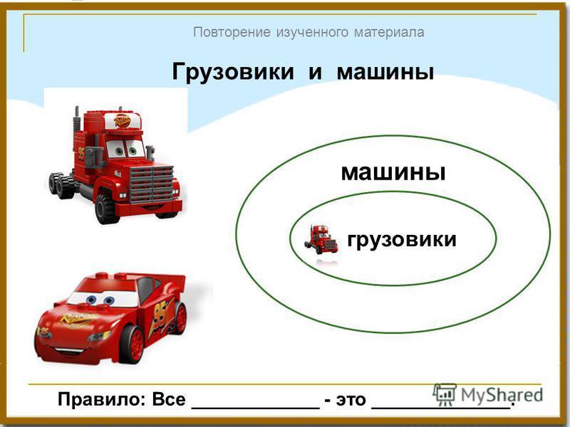 Грузовики и машины Повторение изученного материала грузовики машины Правило: Все ____________ - это _____________.