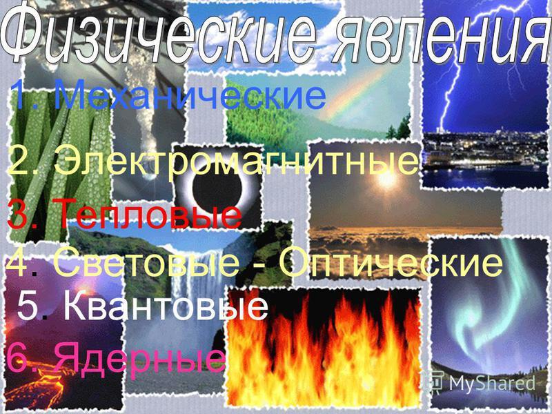 5. Квантовые 2. Электромагнитные 1. Механические 3. Тепловые 4. Световые - Оптические 6. Ядерные