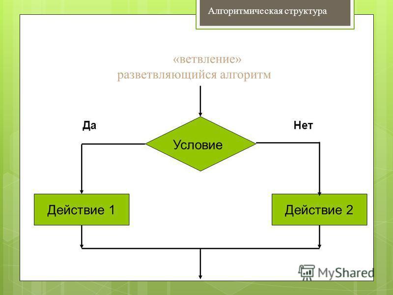 Алгоритмическая структура Условие Действие 2Действие 1 Да Нет «ветвление» разветвляющийся алгоритм
