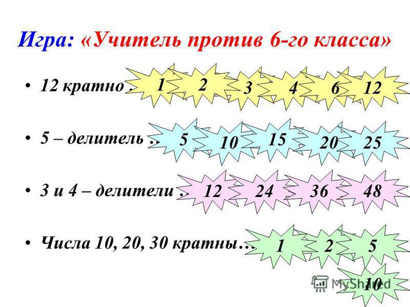 Игра: «Учитель против 6-го класса» 12 кратно … 5 – делитель … 3 и 4 – делители … Числа 10, 20, 30 кратны… 34 1 612 2 5 10 15 2025 12243648 25 10 1
