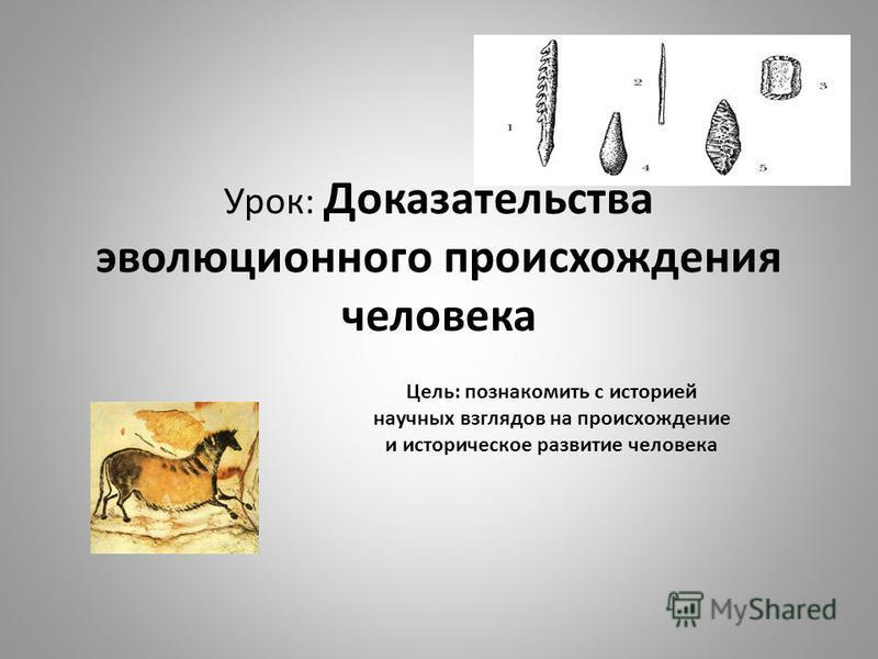 Урок: Доказательства эволюционного происхождения человека Цель: познакомить с историей научных взглядов на происхождение и историческое развитие человека