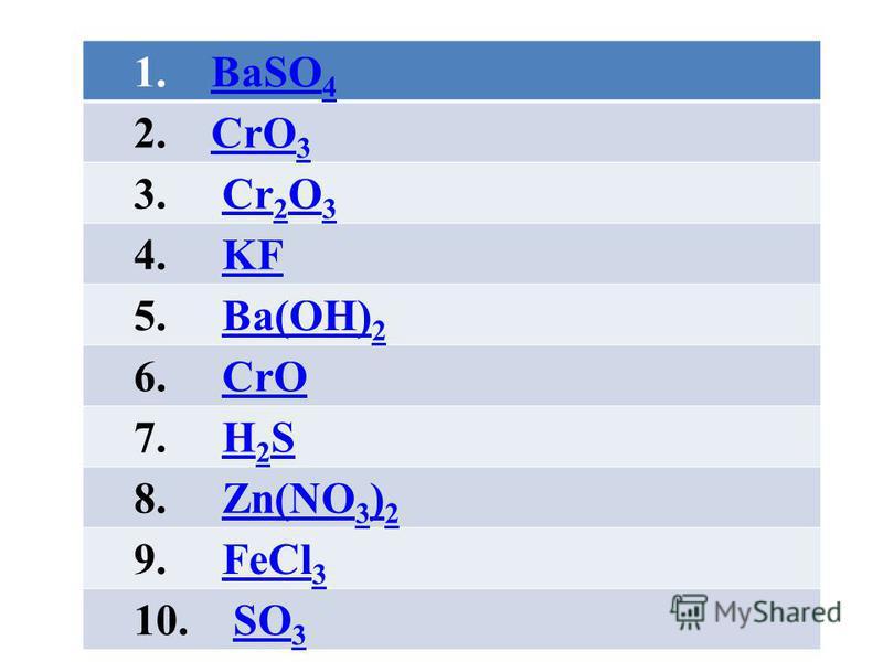 1. BaSO 4BaSO 4 2. CrO 3CrO 3 3. Cr 2 O 3Cr 2 O 3 4. KFKF 5. Ba(OH) 2Ba(OH) 2 6. CrOCrO 7. H 2 SH 2 S 8. Zn(NO 3 ) 2Zn(NO 3 ) 2 9. FeCl 3FeCl 3 10. SO 3SO 3