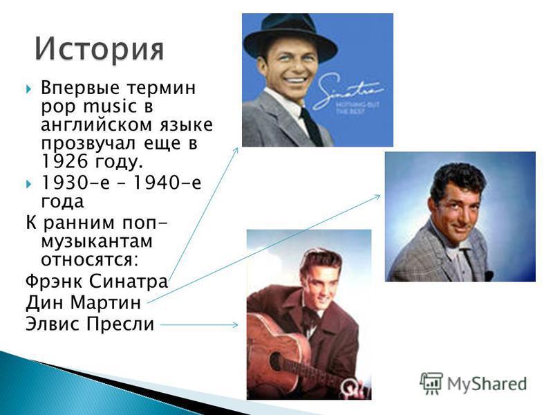Впервые термин pop music в английском языке прозвучал еще в 1926 году. 1930-е – 1940-е года К ранним поп- музыкантам относятся: Фрэнк Синатра Дин Мартин Элвис Пресли