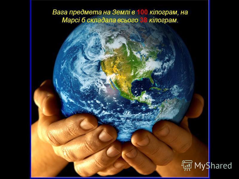 Вага предмета на Землі в 100 кілограм, на Марсі б складала всього 38 кілограм.