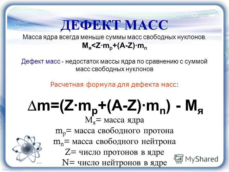 ДЕФЕКТ МАСС Масса ядра всегда меньше суммы масс свободных нуклонов. М я <Z·m p +(A-Z)·m n Дефект масс - недостаток массы ядра по сравнению с суммой масс свободных нуклонов Расчетная формула для дефекта масс: m=(Z·m p +(A-Z)·m n ) - M я М я = масса яд