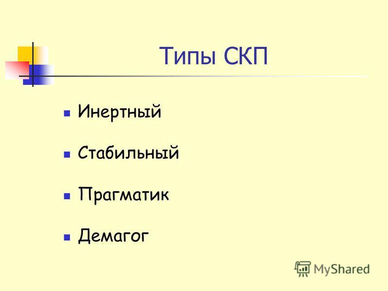 Типы СКП Инертный Стабильный Прагматик Демагог