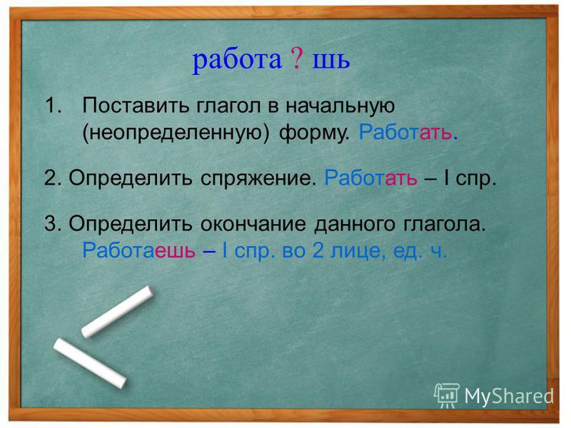 1. Поставить глагол в начальную (неопределенную) форму. Работать. 2. Определить спряжение. Работать – I спр. 3. Определить окончание данного глагола. Работаешь – I спр. во 2 лице, ед. ч. работа ? шь