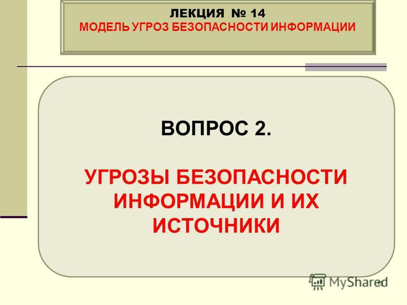 ВОПРОС 2. УГРОЗЫ БЕЗОПАСНОСТИ ИНФОРМАЦИИ И ИХ ИСТОЧНИКИ ЛЕКЦИЯ 14 МОДЕЛЬ УГРОЗ БЕЗОПАСНОСТИ ИНФОРМАЦИИ 15