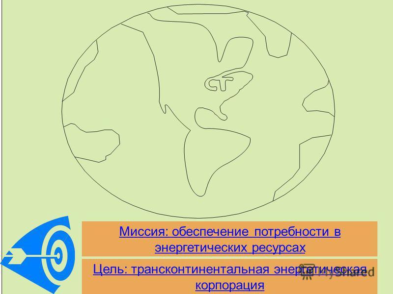 Цель: трансконтинентальная энергетическая корпорация Миссия: обеспечение потребности в энергетических ресурсах