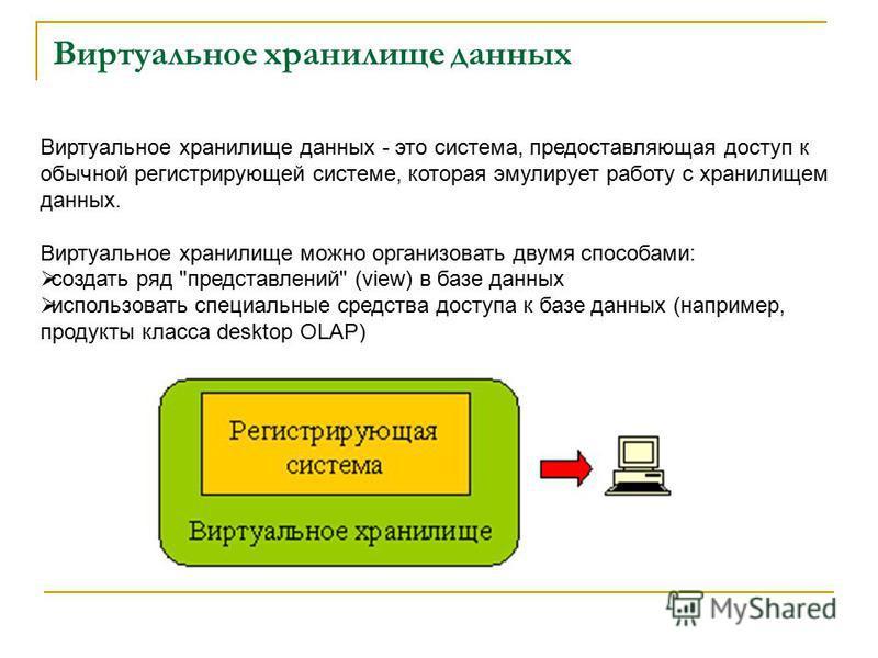 Виртуальное хранилище данных Виртуальное хранилище данных - это система, предоставляющая доступ к обычной регистрирующей системе, которая эмулирует работу с хранилищем данных. Виртуальное хранилище можно организовать двумя способами: создать ряд