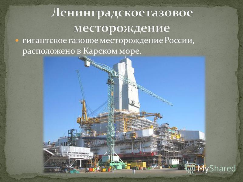 гигантское газовое месторождение России, расположено в Карском море.