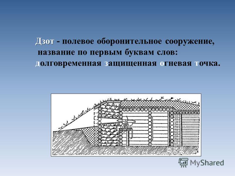 Дзот Дзот - полевое оборонительное сооружение, название по первым буквам слов: долговременная защищенная огневая точка.