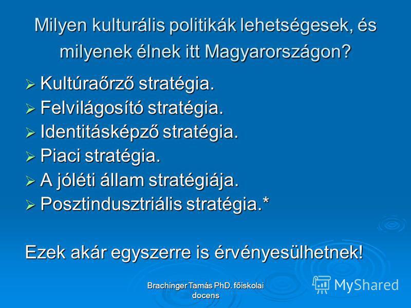 Brachinger Tamás PhD. főiskolai docens Milyen kulturális politikák lehetségesek, és milyenek élnek itt Magyarországon? Kultúraőrző stratégia. Kultúraőrző stratégia. Felvilágosító stratégia. Felvilágosító stratégia. Identitásképző stratégia. Identitás