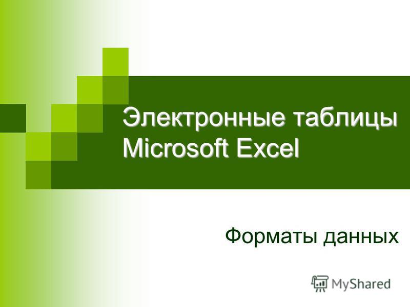 Электронные таблицы Microsoft Excel Форматы данных