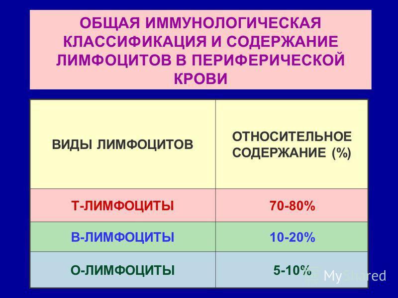 ОБЩАЯ ИММУНОЛОГИЧЕСКАЯ КЛАССИФИКАЦИЯ И СОДЕРЖАНИЕ ЛИМФОЦИТОВ В ПЕРИФЕРИЧЕСКОЙ КРОВИ ВИДЫ ЛИМФОЦИТОВ ОТНОСИТЕЛЬНОЕ СОДЕРЖАНИЕ (%) Т-ЛИМФОЦИТЫ70-80% В-ЛИМФОЦИТЫ10-20% О-ЛИМФОЦИТЫ5-10%