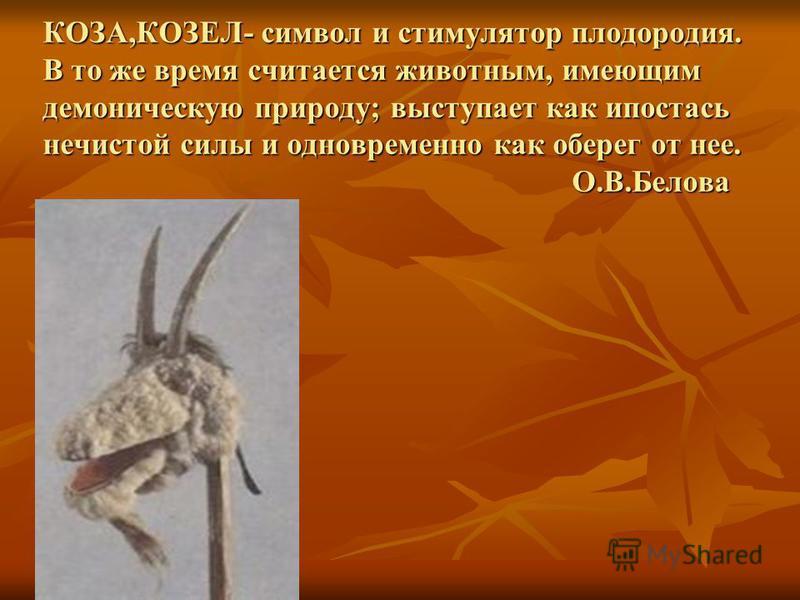 КОЗА,КОЗЕЛ- символ и стимулятор плодородия. В то же время считается животным, имеющим демоническую природу; выступает как ипостась нечистой силы и одновременно как оберег от нее. О.В.Белова