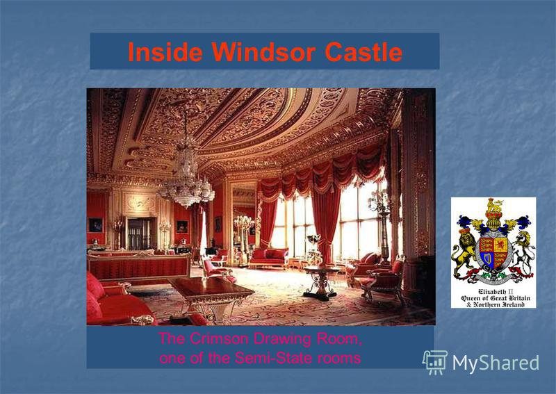 Inside Windsor Castle The Queen's Ballroom The Crimson Drawing Room, one of the Semi-State rooms